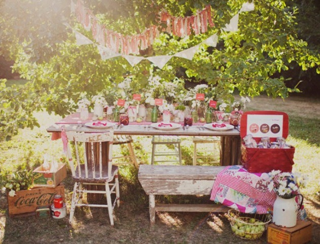vintage picnic tablescape under a tree