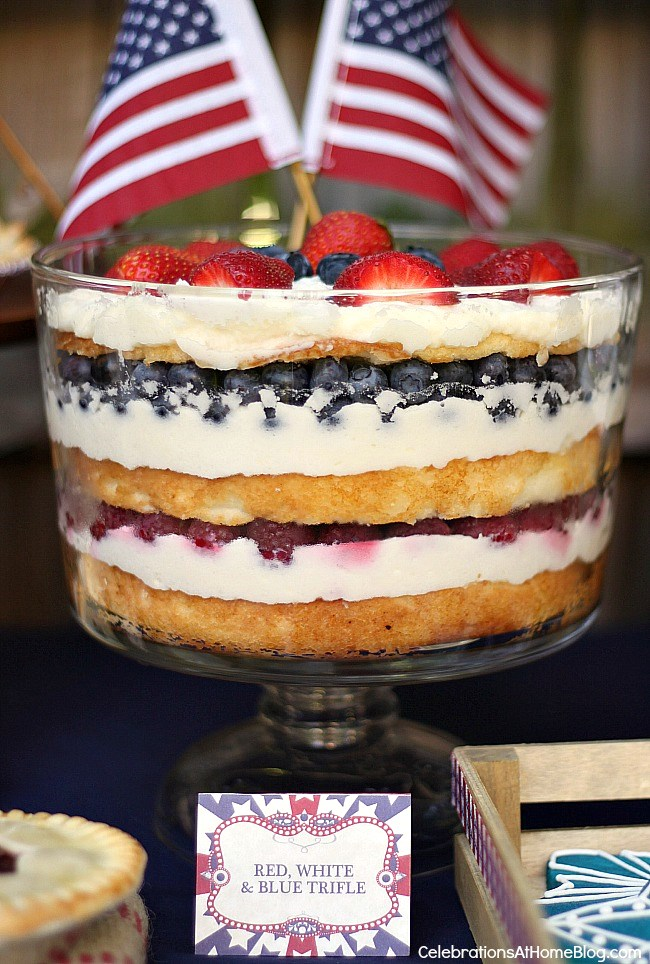 red white and blue trifle 4th of July dessert