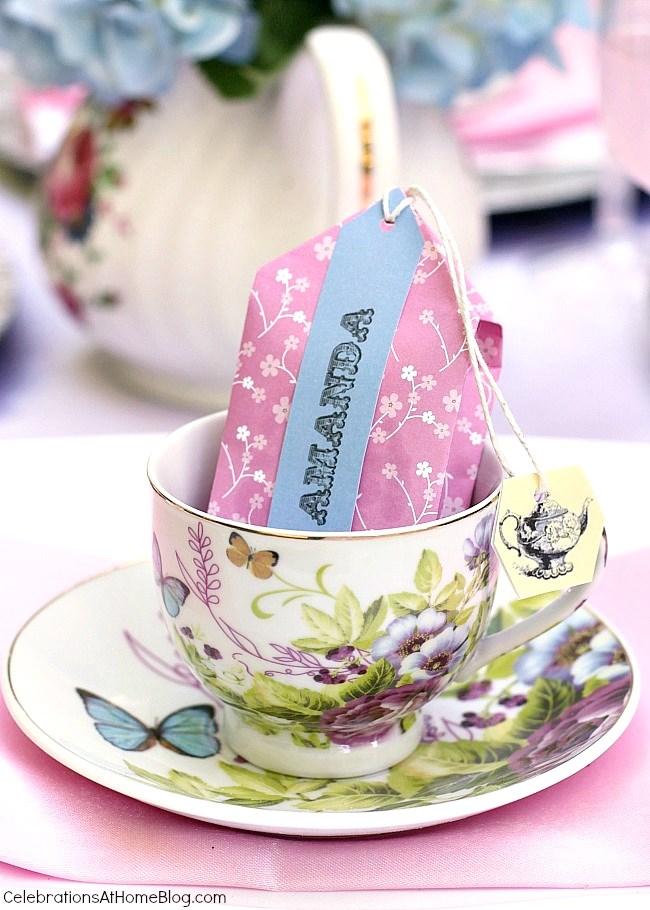 diy tea party favors tea bag cookie packs