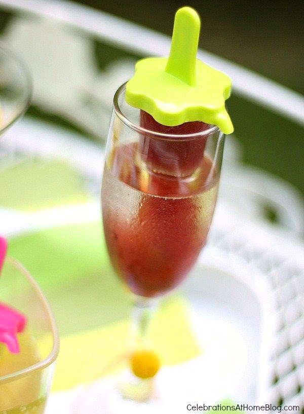 champagne and juice pop cocktail