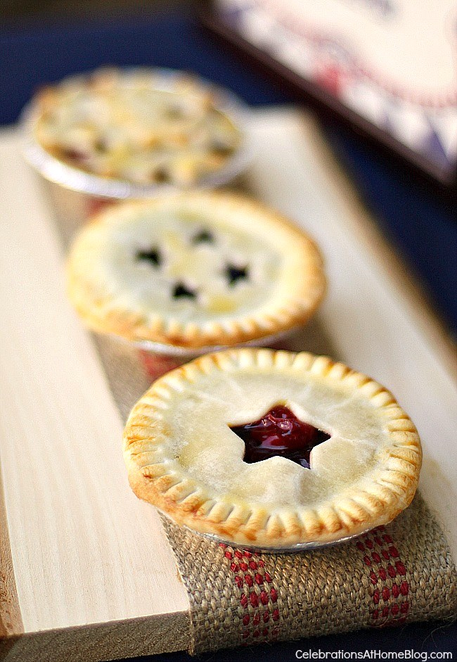 Make these star-studded mini fruit pies for 4th of July dessert. Yes, I used canned pie filling.
