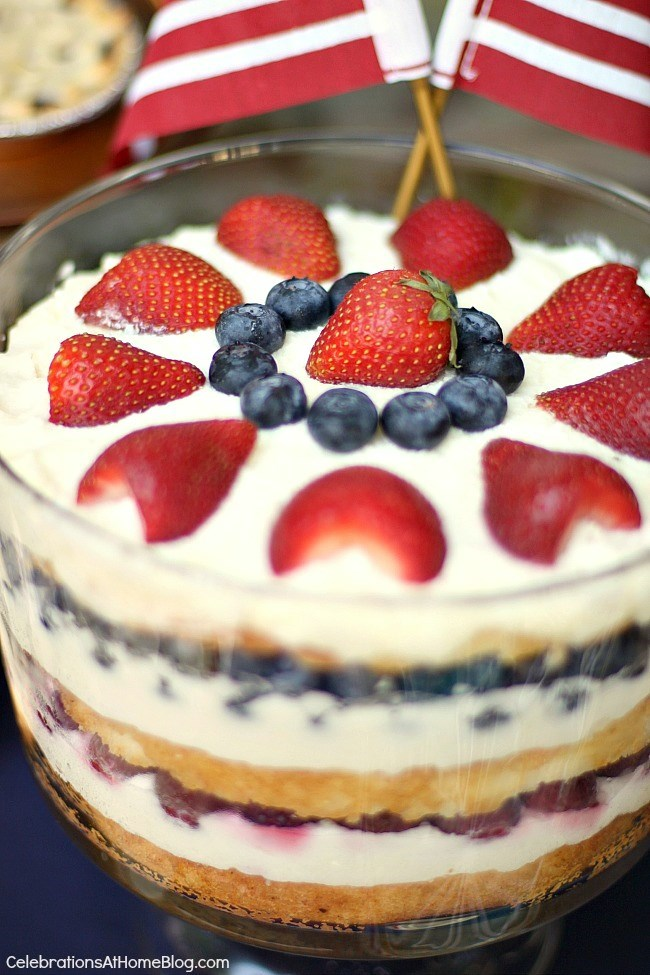 red white and blue trifle for 4th of July dessert