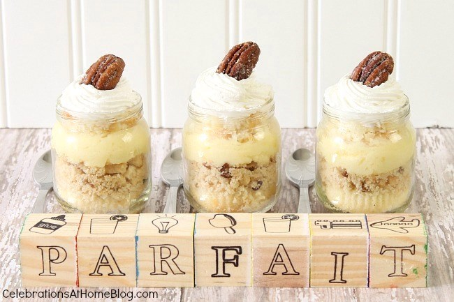 mini dessert parfaits in baby food jars are perfect for a baby shower celebration; the recipe is Amazing too!