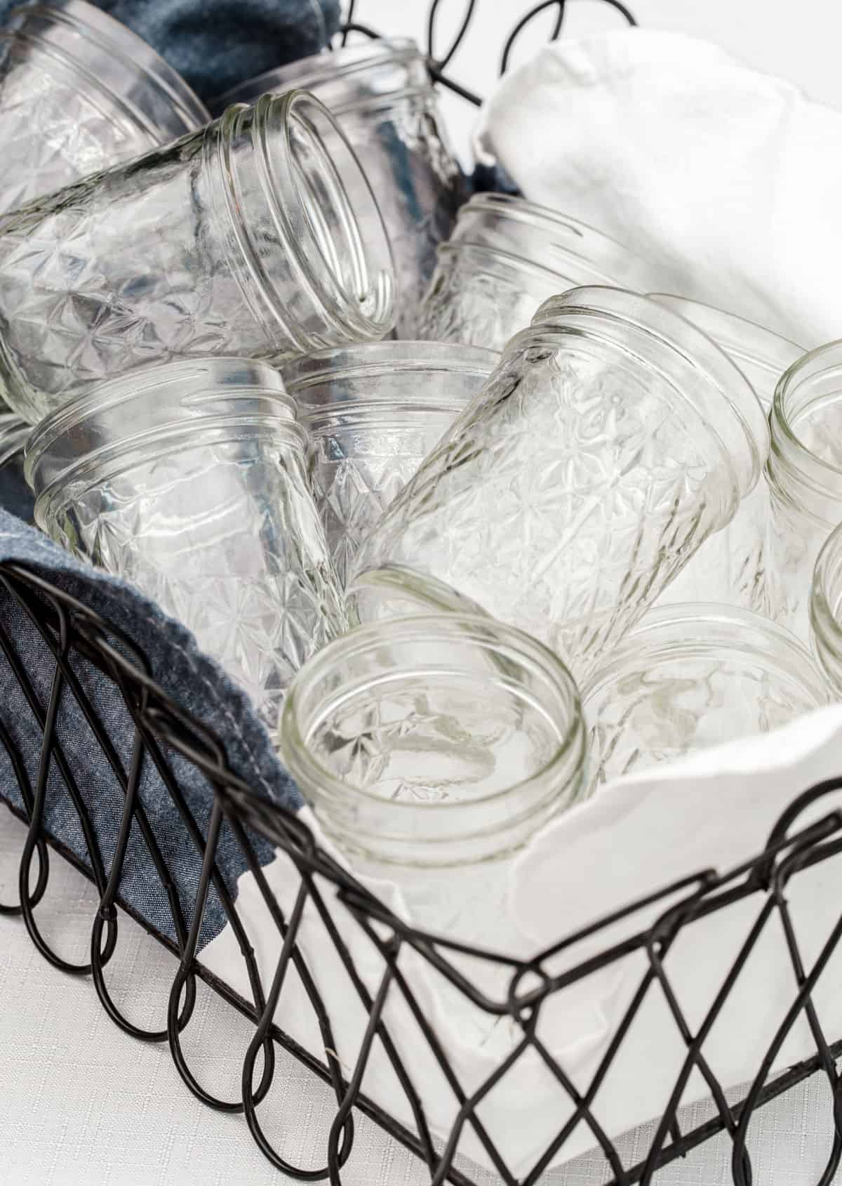 jars stacked in wire basket