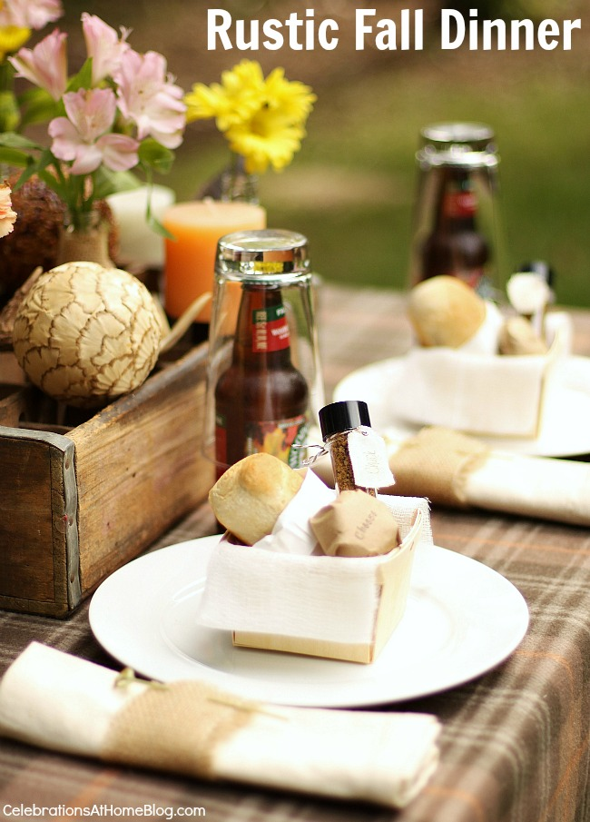 Rustic fall tablescape; Entertaining at home; dinner party.