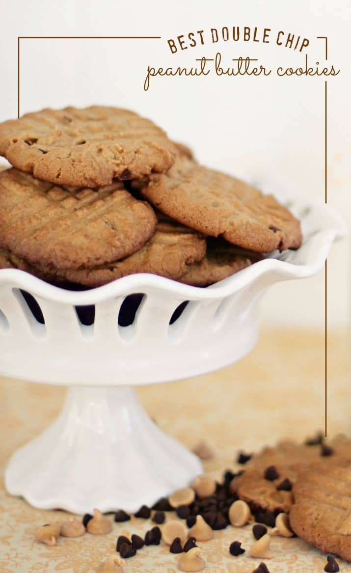 double chip peanut butter cookie recipe, with pinnable graphic