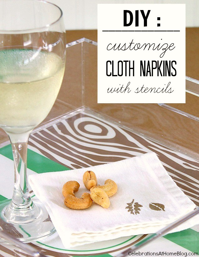 diy custom stenciled napkins