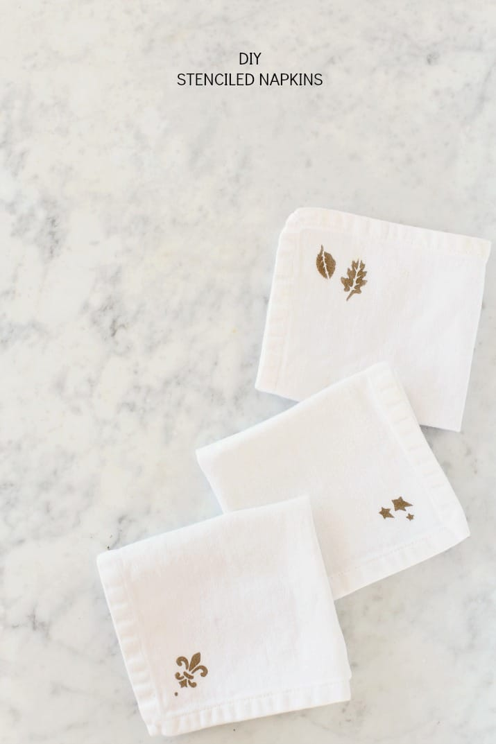 Make your own DIY Stenciled Cocktail Napkins for a custom look for any party.