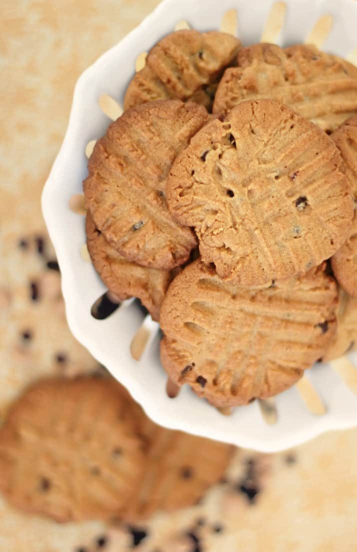 best double chip peanut butter cookies recipe, top view of cookies in white dish