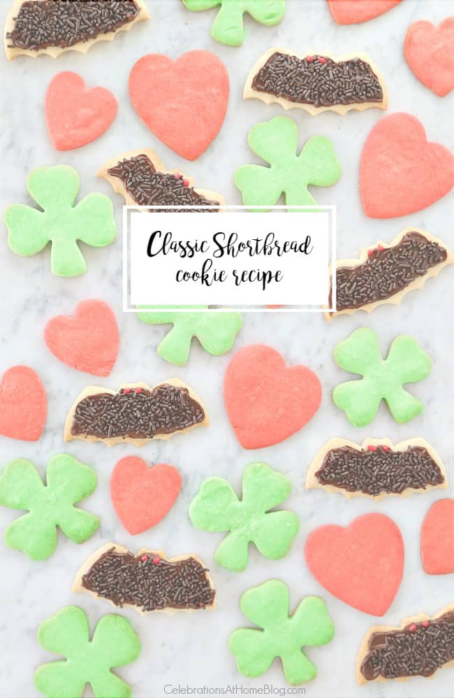 shortbread cookie recipe in holiday shapes with text overlay