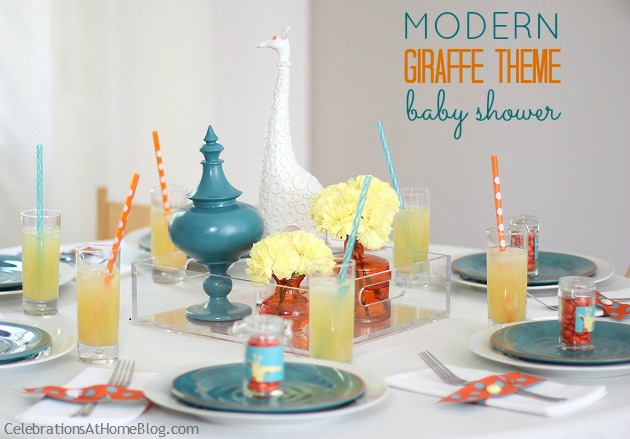 modern giraffe baby shower