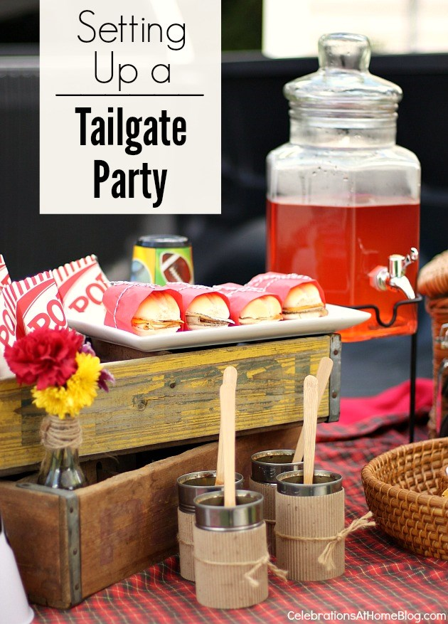 setting up a tailgate party