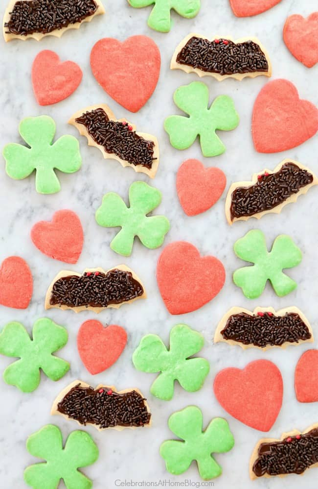 shortbread cookie recipe in holiday shapes like hearts, bats, shamrocks