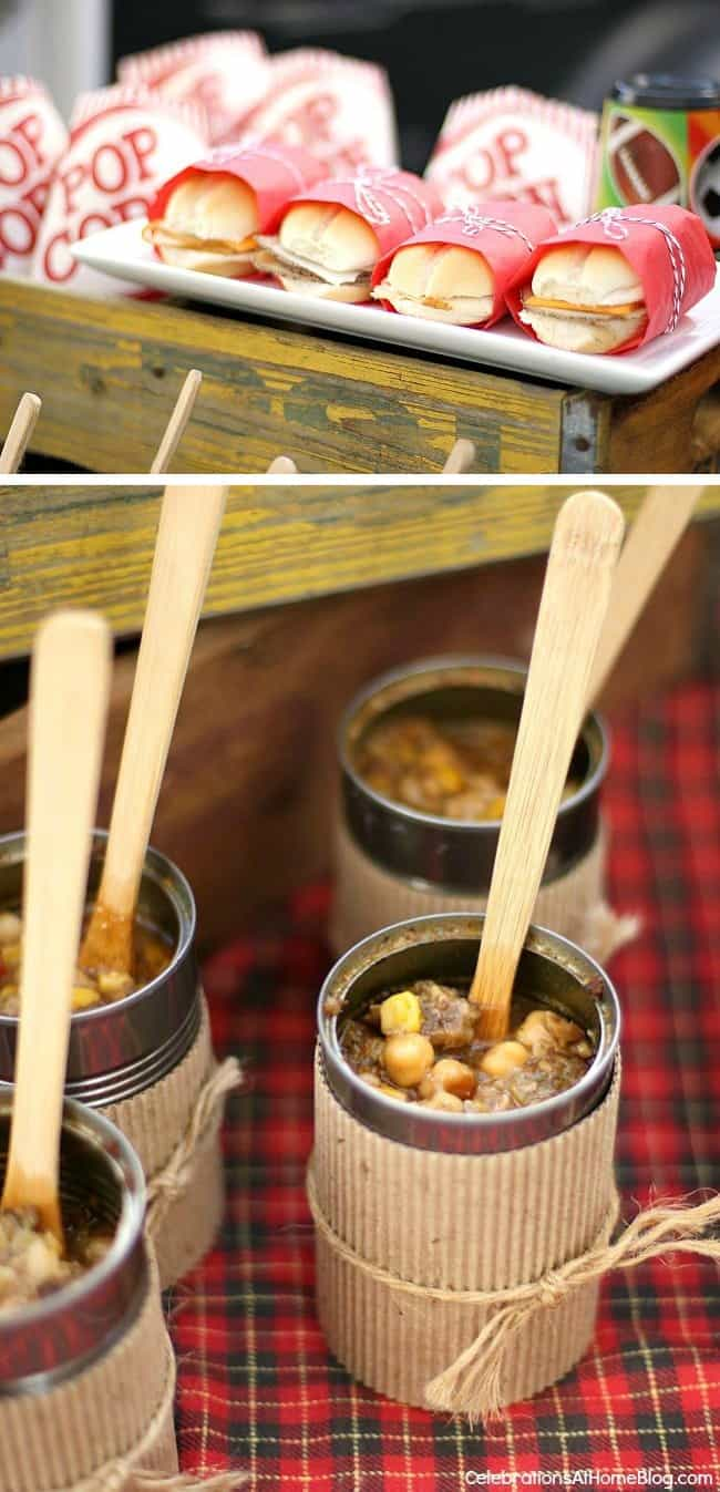 Great ideas and recipes for tailgate party food in this football tailgating party.