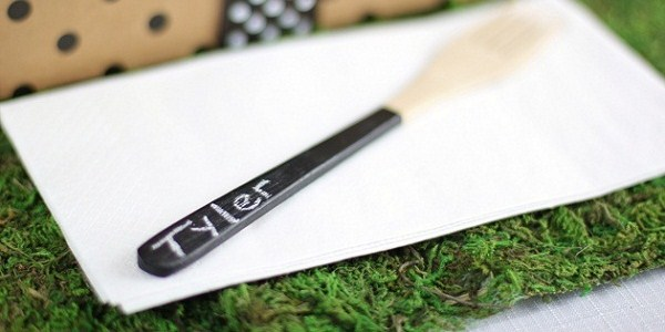 chalkboard painted wooden utensils