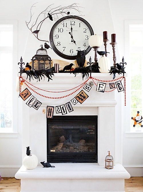 10 black and white halloween decorating ideas Fireplace ideas no fire