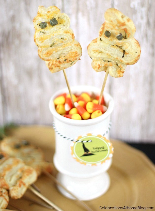 """Turn this puff pastry party appetizer into """"ghosts"""" for Halloween. See the recipe and details here."""