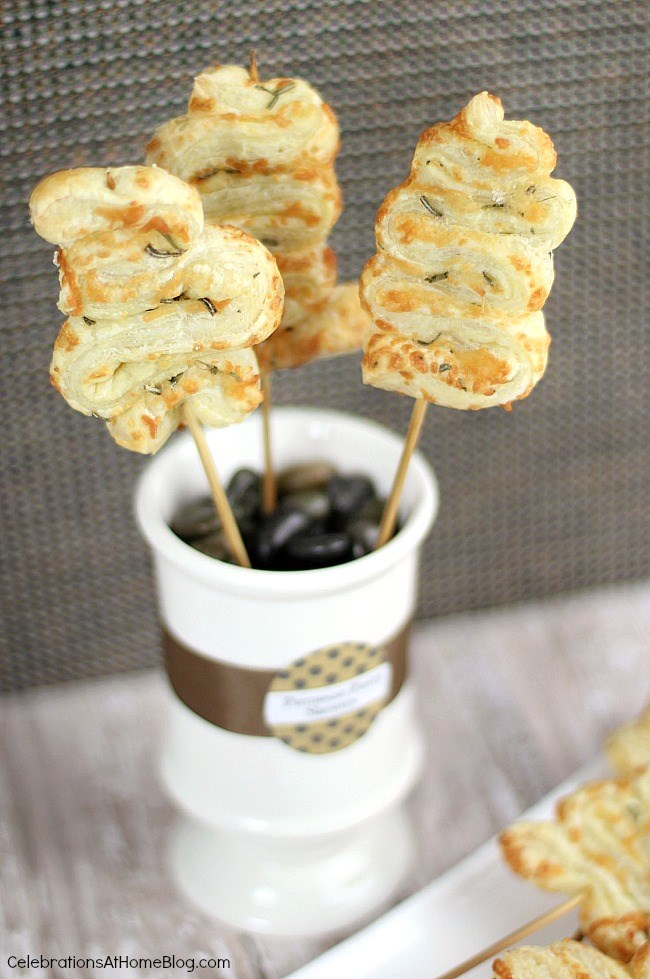 These puff pastry cheese skewers are fantastic party appetizers. Get the recipe here and serve them at your next gathering.