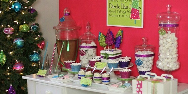 Colorful Bright & Glittery Holiday Party Dessert Table