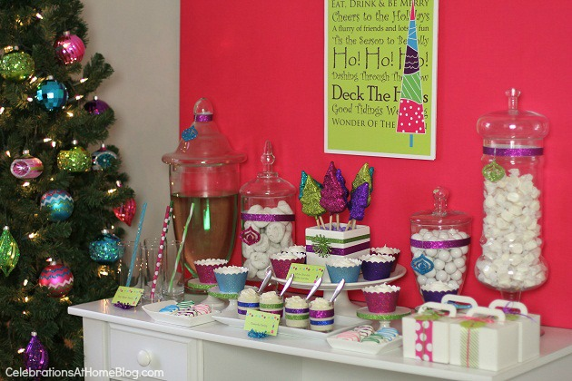 A bright glittery holiday party is perfect for the entire family. Get some fabulous ideas for a treat table, here.