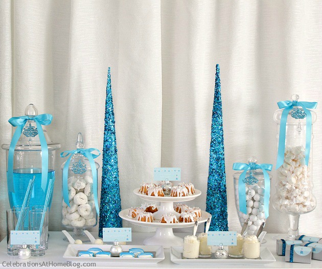 Elegant holiday party ideas - blue and white Christmas