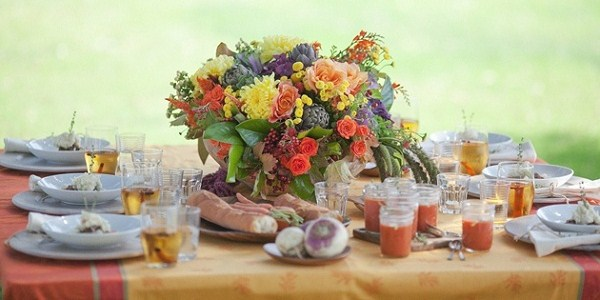 colorful Thanksgiving dinner table