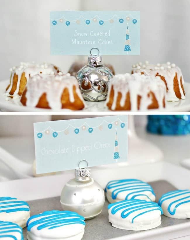 elegant holiday dessert table for Christmas or Hanukkah