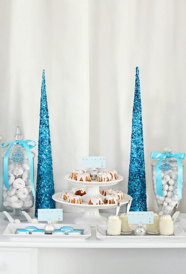 elegant holiday dessert table in blue and white