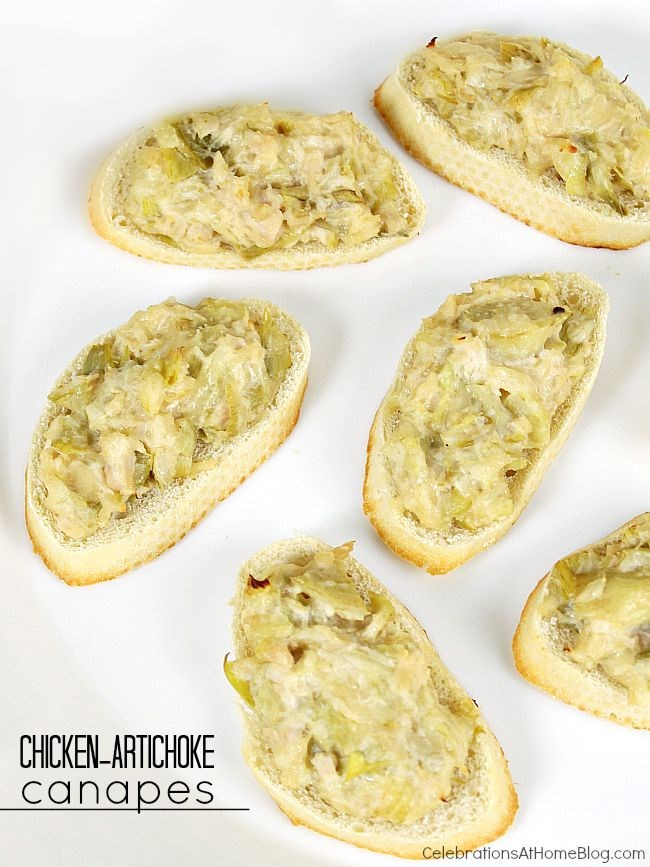 Easy appetizer chicken artichoke canapes celebrations for Simple canape appetizer