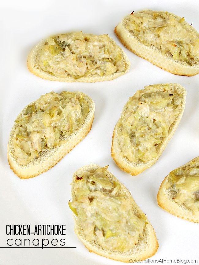 Easy appetizer - chicken artichoke canapes