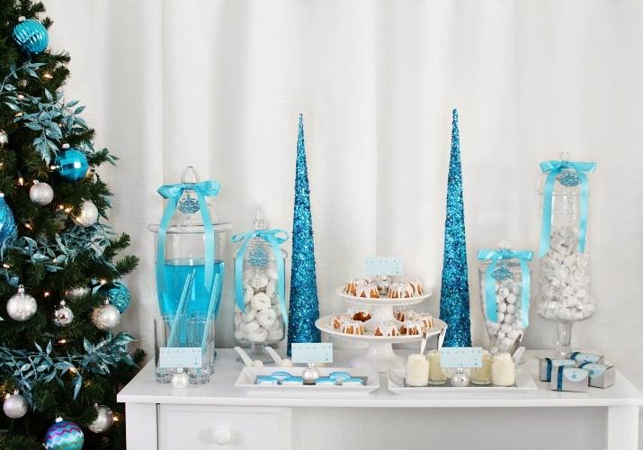 blue and white elegant holiday dessert table