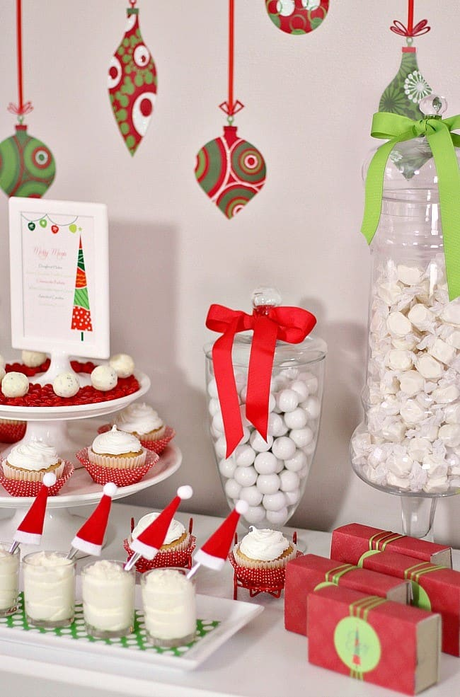These family friendly Christmas party ideas are full of whimsical touches done in classic red and green. Includes a sweet dessert table for all. #Christmas #christmasparty #redchristmas #whimsicalChristmas #familyChristmasparty