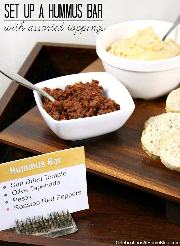 For a great entertaining idea, set up a hummus bar with lots of fixings's to choose from