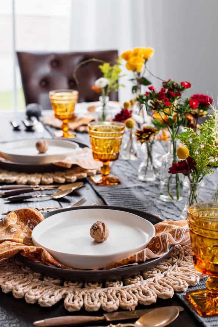 Thanksgiving table setting, side view