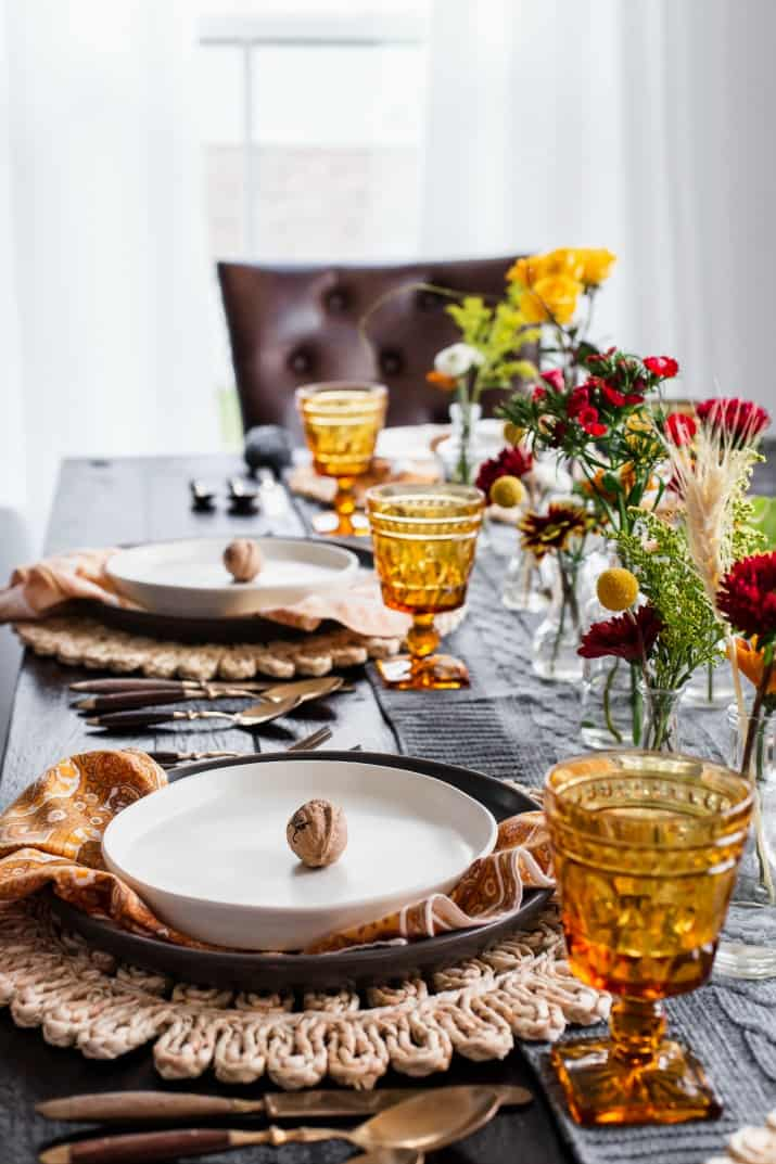 fall table setting gold and gray colors