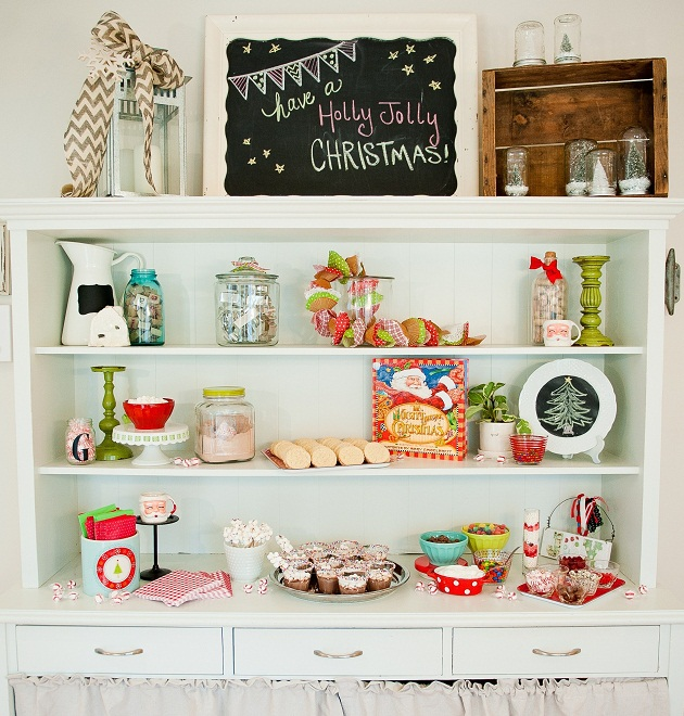 Christmas hutch display