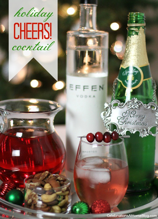 """Make this red Christmas cocktail called """"Rudolph's Shiny Red Cocktail"""" and serve it at your holiday soiree."""