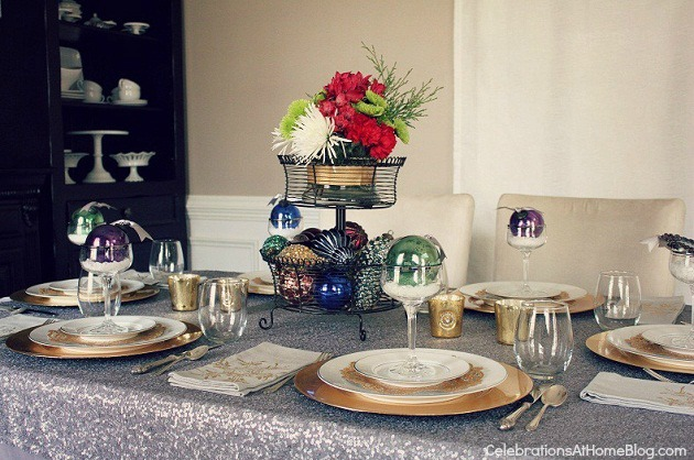 Christmas table setting with ornaments