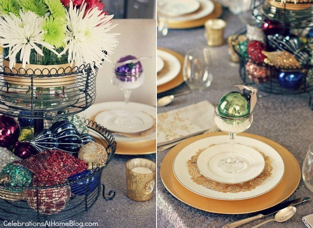 Christmas tablescape with ornaments as decoration