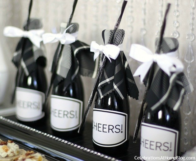 dressed up mini champagne bottles