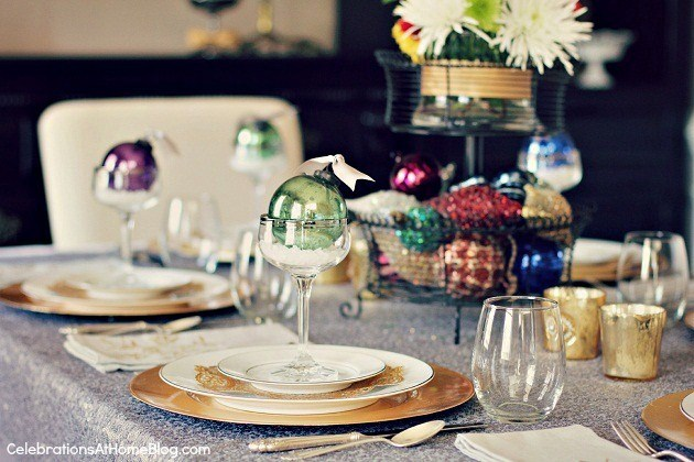 Christmas tablescape using ornaments as primary decorative item