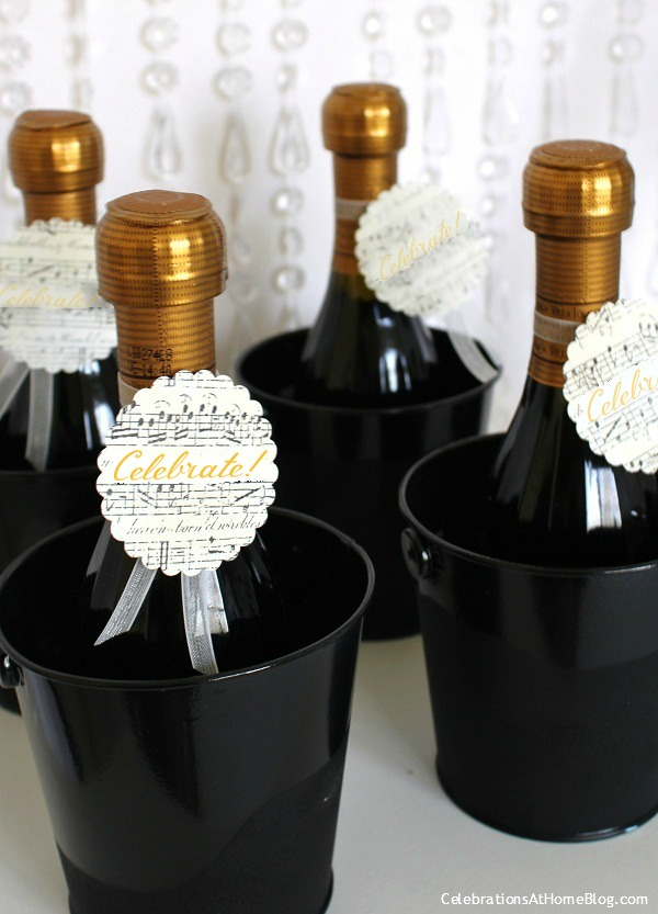 mini champagne bottles with hang tags