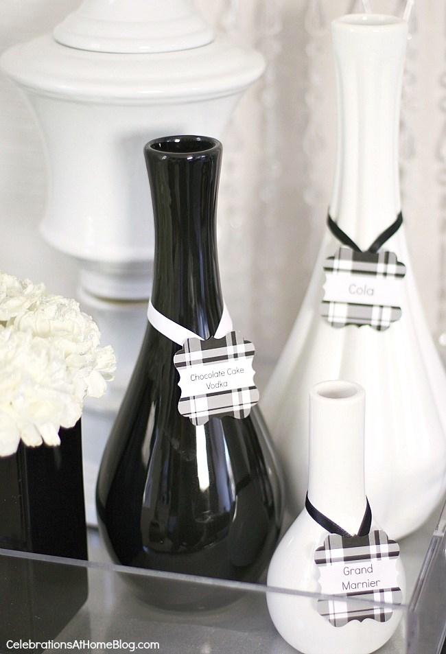 black and white vases