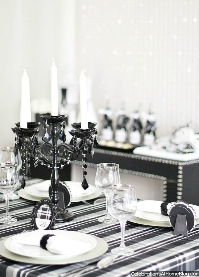 black & white celebration dinner party