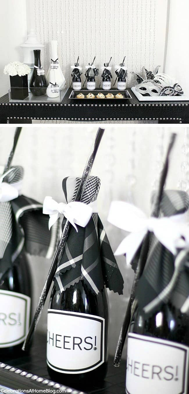 Black & white dinner party ideas; New Years Eve party; black and white celebration dinner