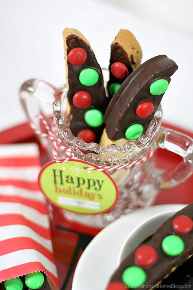 Easy chocolate dipped biscotti for holiday entertaining.