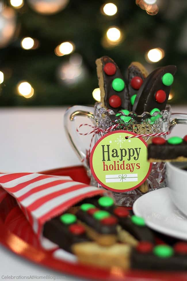 easy chocolate dipped biscotti Christmas treats