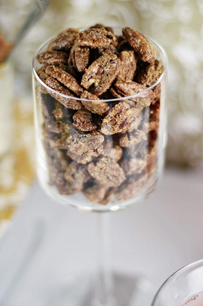 Christmas Cocktail Party Ideas, candied pecans served in stem glass