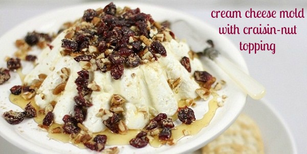 cream cheese mold with craisin nut topping