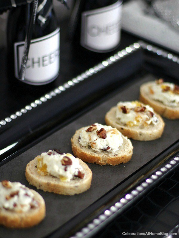 fruit, nut, bacon, & cheese canapes